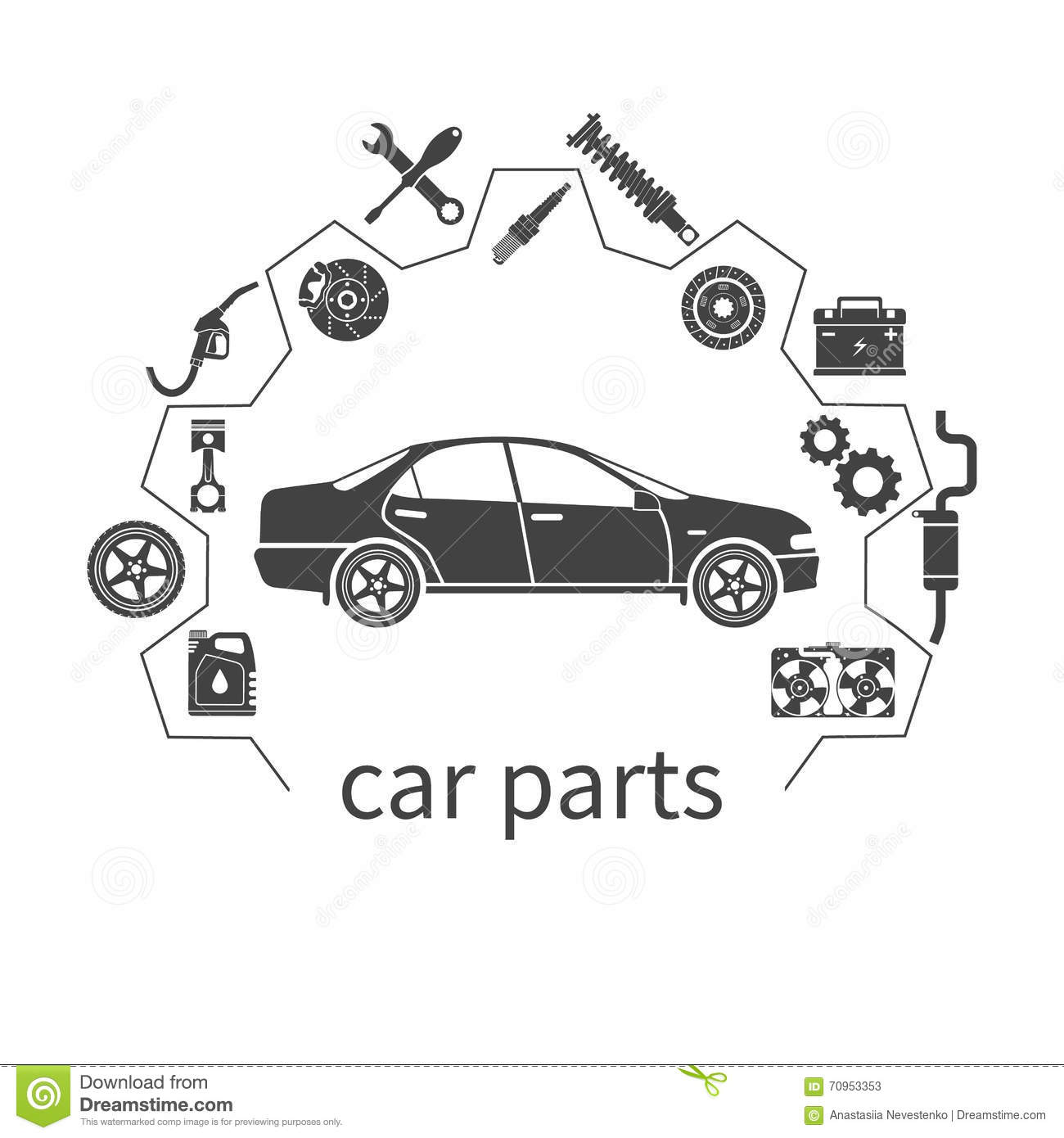 Car Parts. Auto Spare Parts For Repairs Stock Vector - Illustration ...