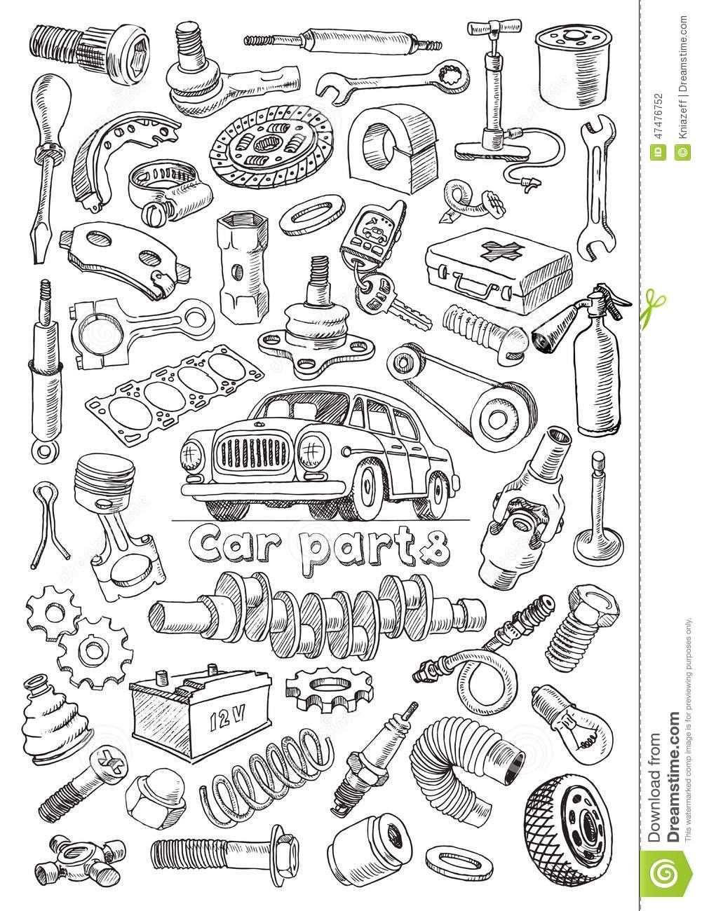 car parts in freehand drawing style stock vector