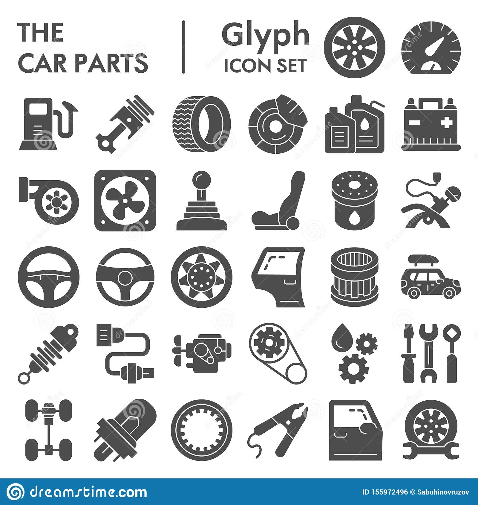 Car Parts, Service And Repair Glyph Icon Set Stock Vector - Illustration of  steering, symbol: 123831547