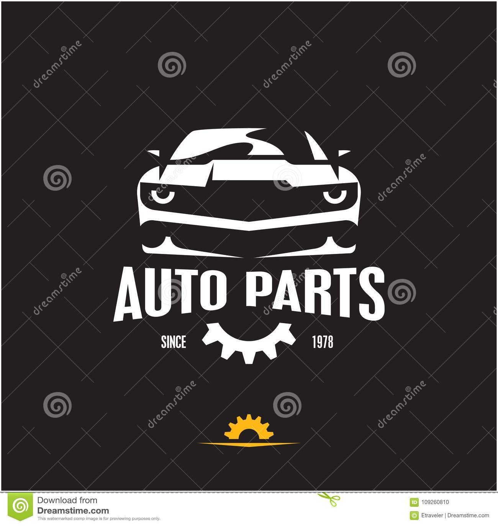 Car Parts Icon, Auto Parts Label, Sports Car Silhouette Stock Vector ...