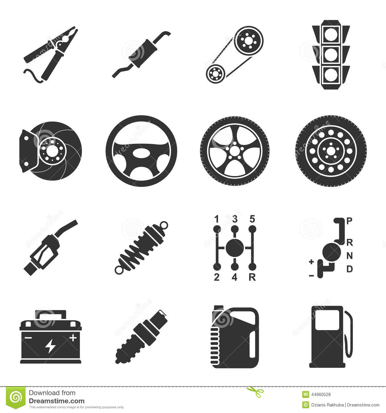 Car Parts Icons Stock Vector Illustration Of Tire Part 44960528