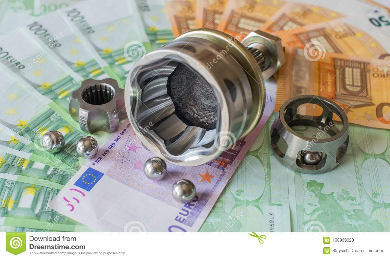 Car Parts Lying On A Pile Of Money. Stock Photo - Image: 100939020