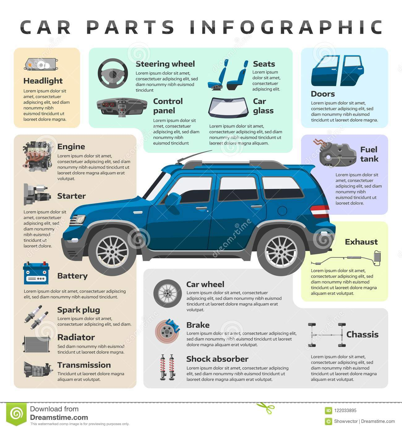 Car Parts Service Infographic Auto Mechanic Tool Tuning