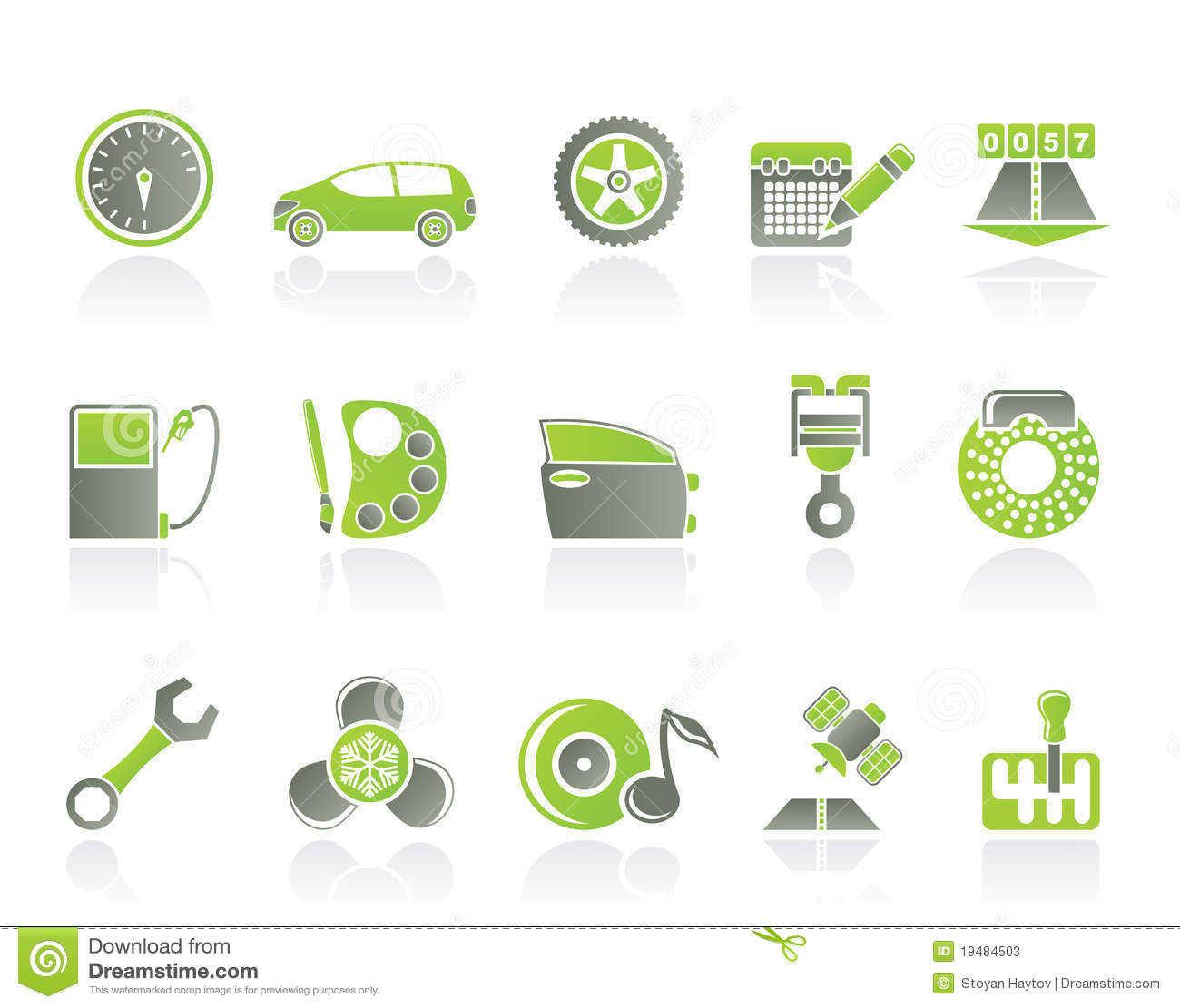 Car Parts, Services And Characteristics Icons Stock Photos - Image ...