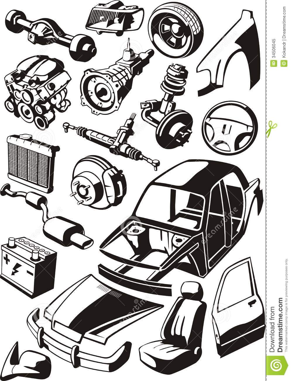 Car Parts Stock Vector Image Of Detail Disc Trim Wing