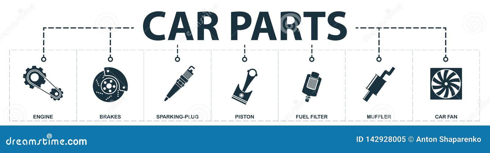 Car Parts Set Icons Collection  Includes Simple Elements