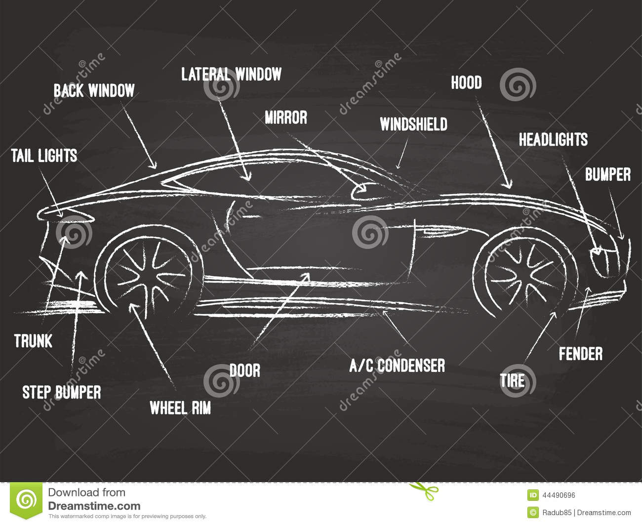 Car Parts Sketch stock vector. Illustration of component - 44490696