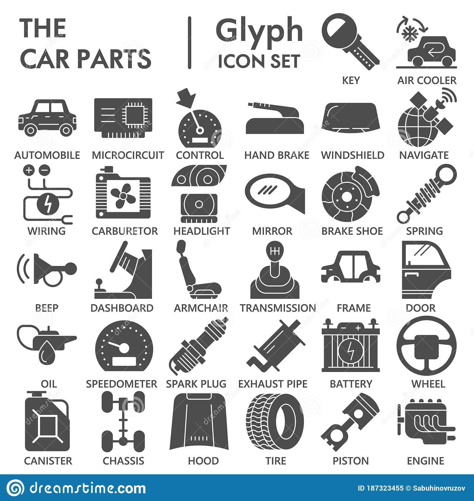 Car Parts Solid Icon Set Vehicle Repairing Symbols Collection Or Sketches Car Inside And Outside Glyph Style Signs For Stock Vector Illustration Of Repair Automotive 187323455