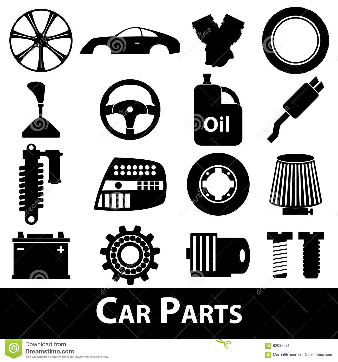 car parts store simple black icons set eps10 stock vector