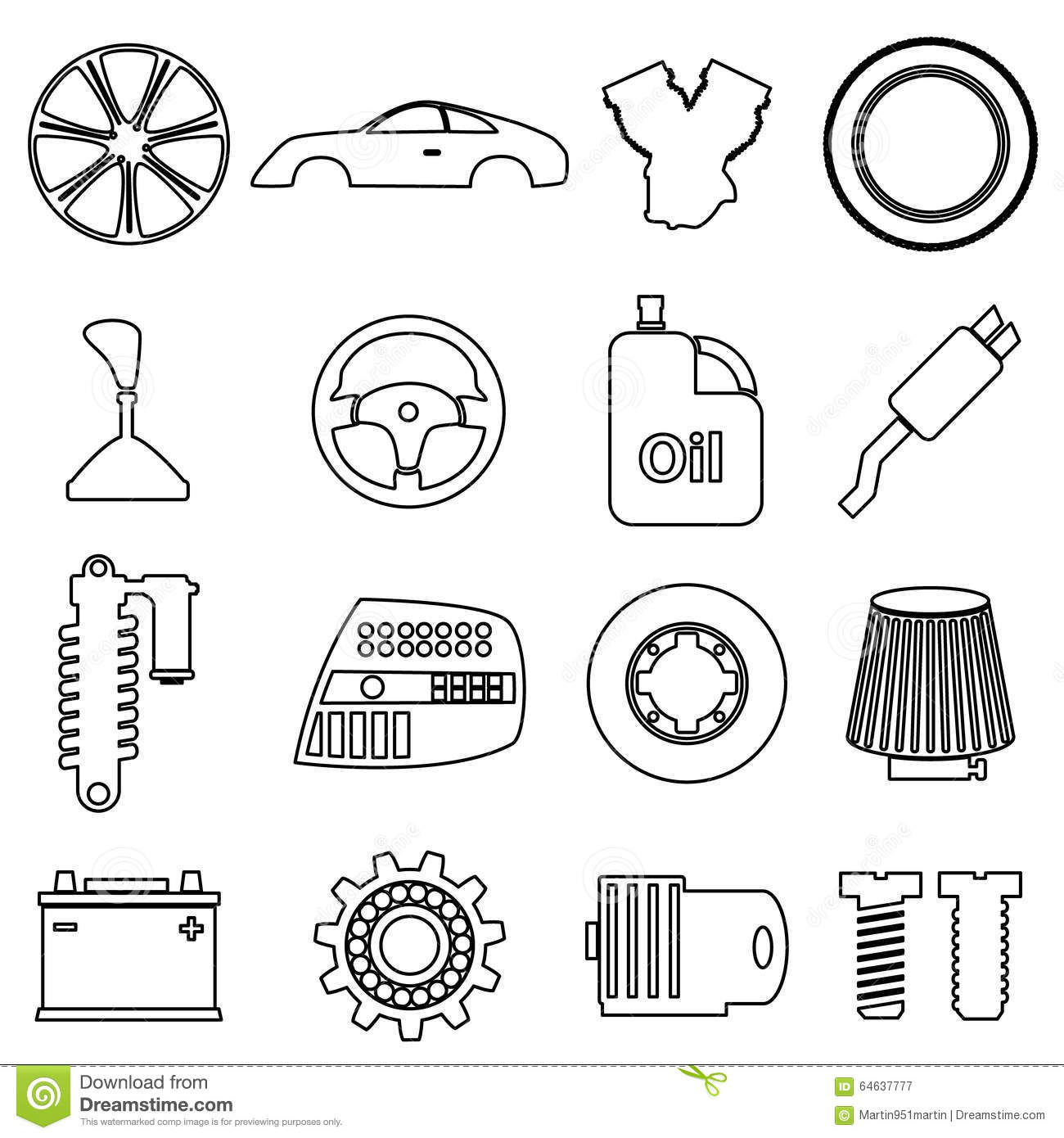 Car Parts Store Simple Black Outline Icons Set Illustration 64637777 ...