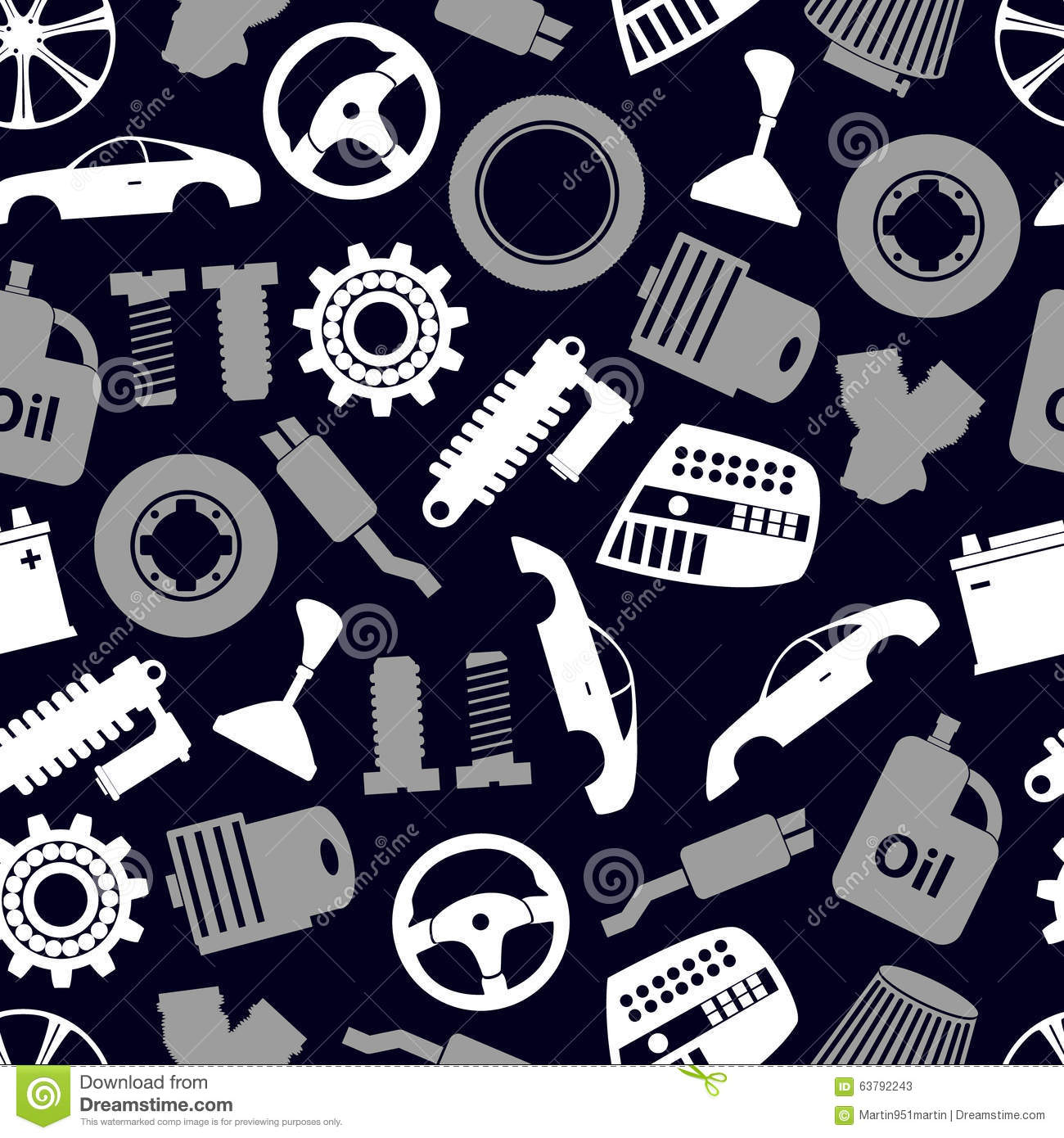 Car parts store simple icons seamless dark pattern eps10 for Simple car parts