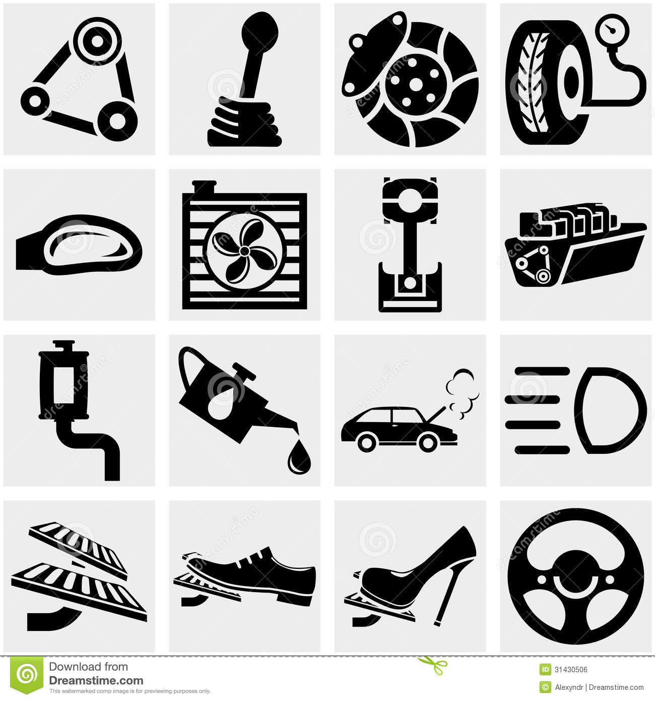 Car Parts Vector Icon Set On Gray Stock