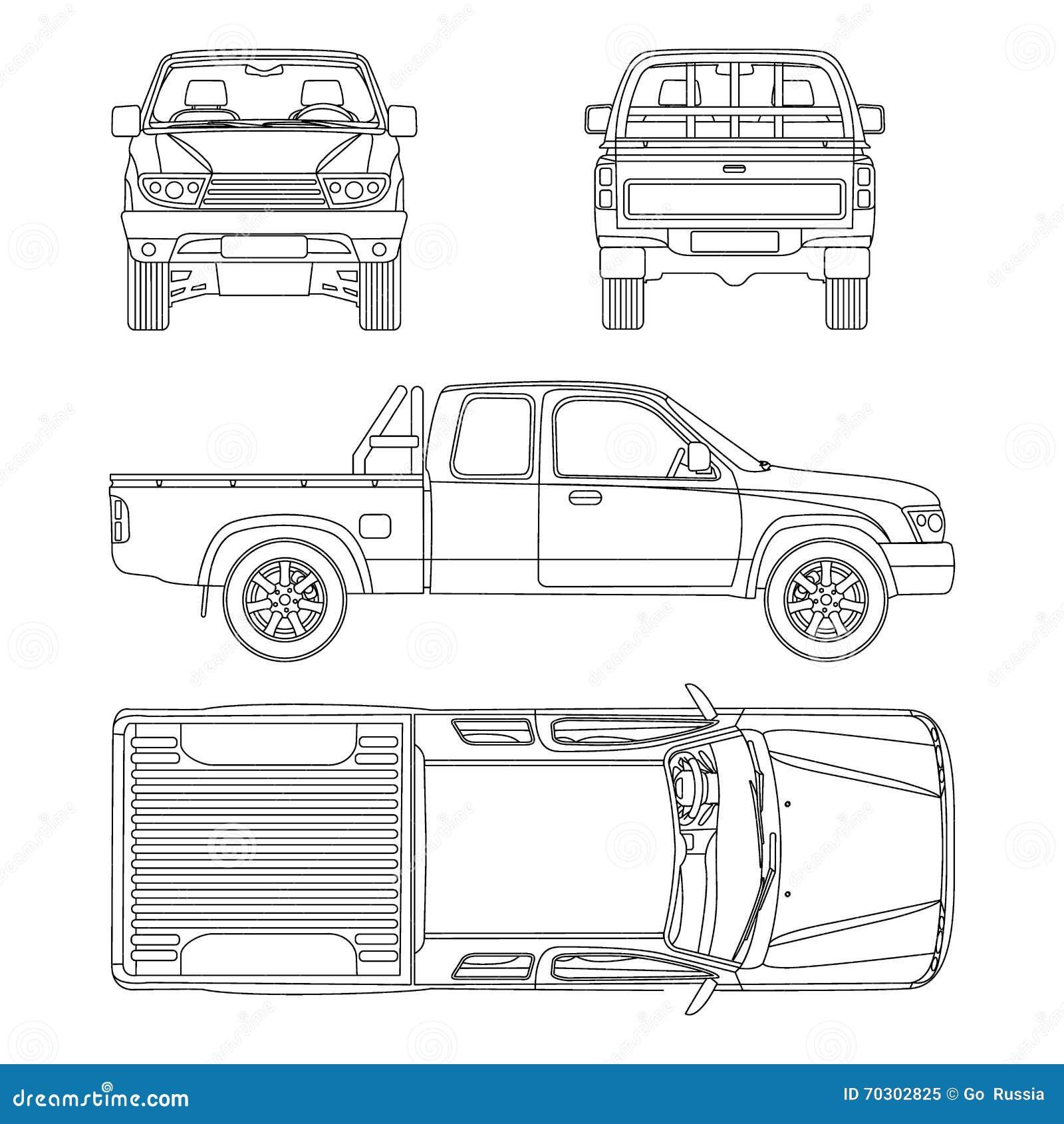 Car Pickup Truck Vector Illustration Stock Vector