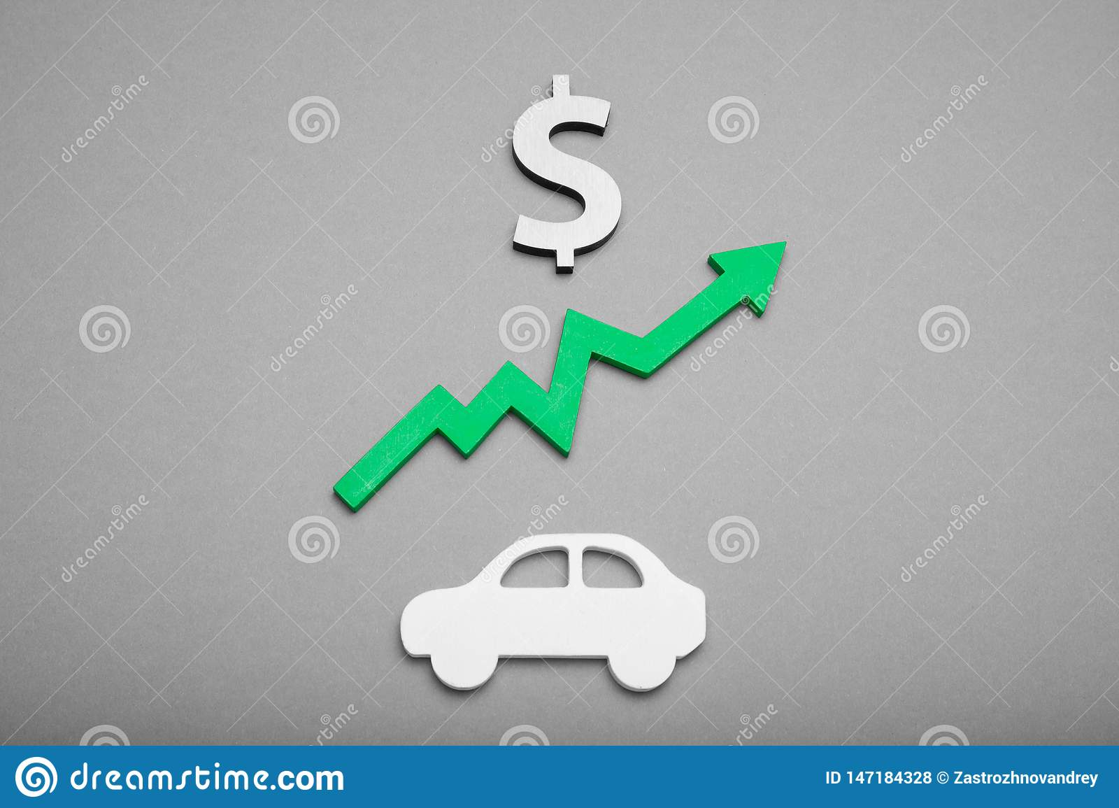 Car price rising, automobile background concept. Cost credit. Insurance, investment, growth