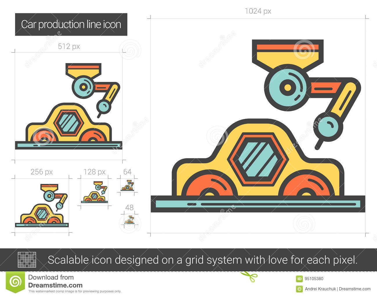 Assembly Icon: Car Production Line Icon. Stock Vector. Illustration Of