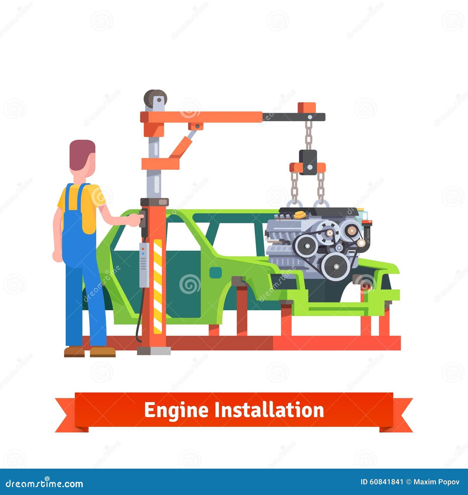 Car Production Line Or Repair Shop Stock Vector
