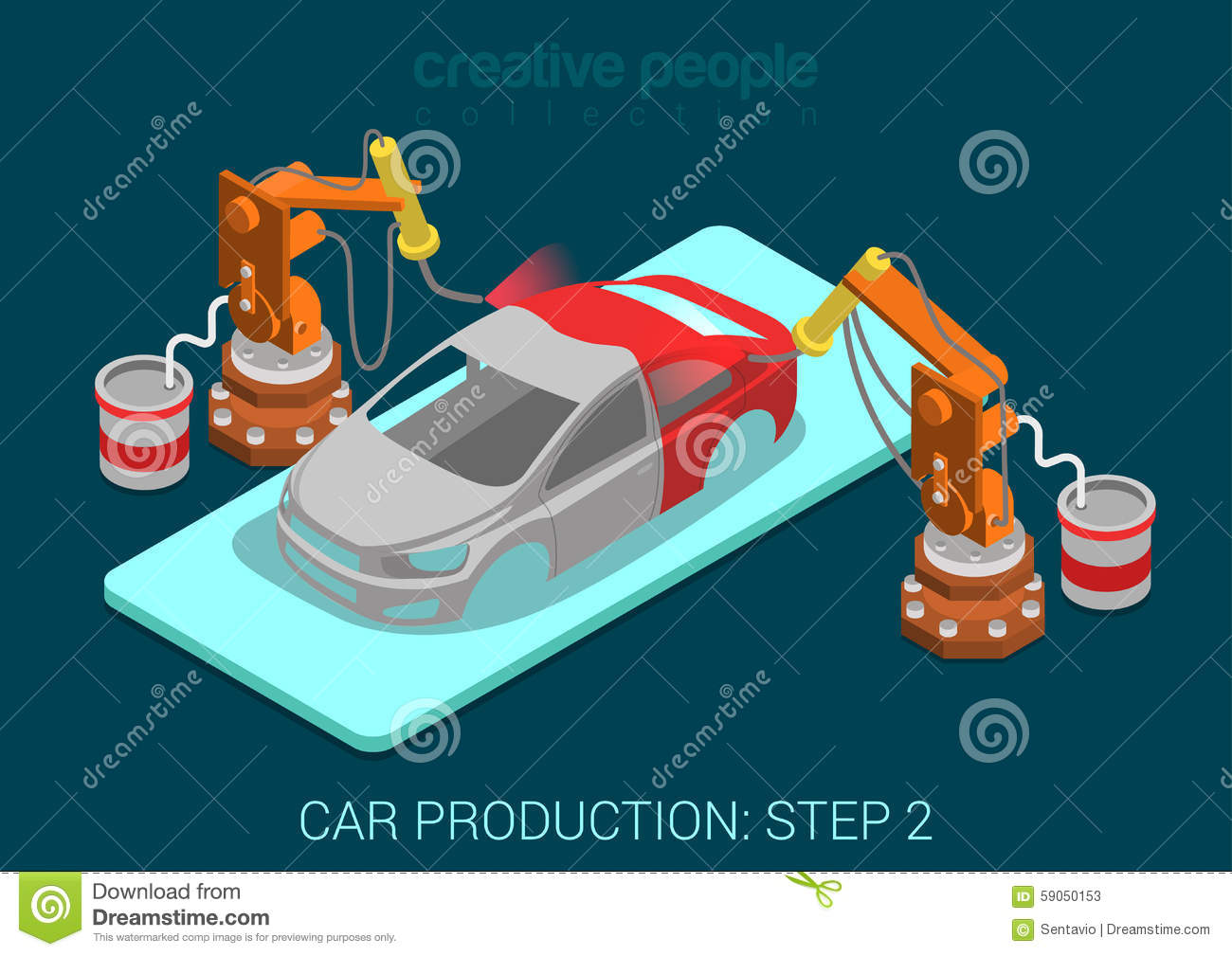 Car Production Plant Robots Painting Process In Assembly