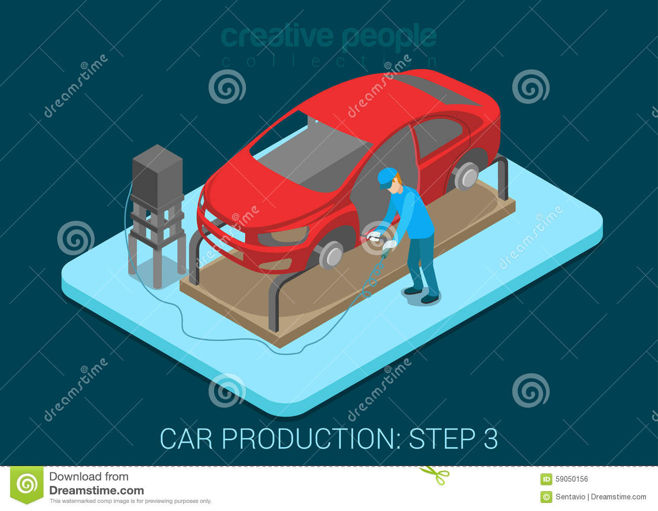 car production plant welding process assembly shop stock vector image 59050156. Black Bedroom Furniture Sets. Home Design Ideas