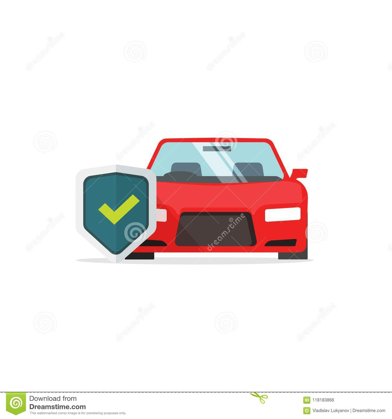 Endurance Car Insurance >> Car Protection Vector Symbol Flat Cartoon Auto With Shield