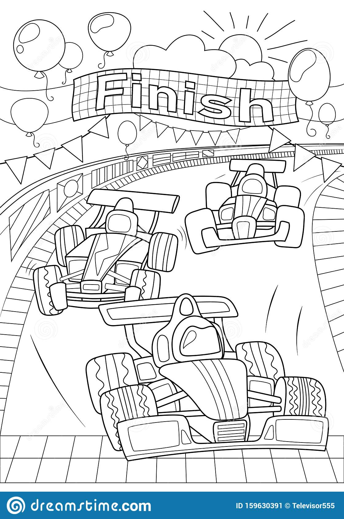 Car Race Coloring Page Formula 1 Black Line Vector Illustration On White Background Speed Car On Finish Racing Car Stock Vector Illustration Of Line Nursery 159630391