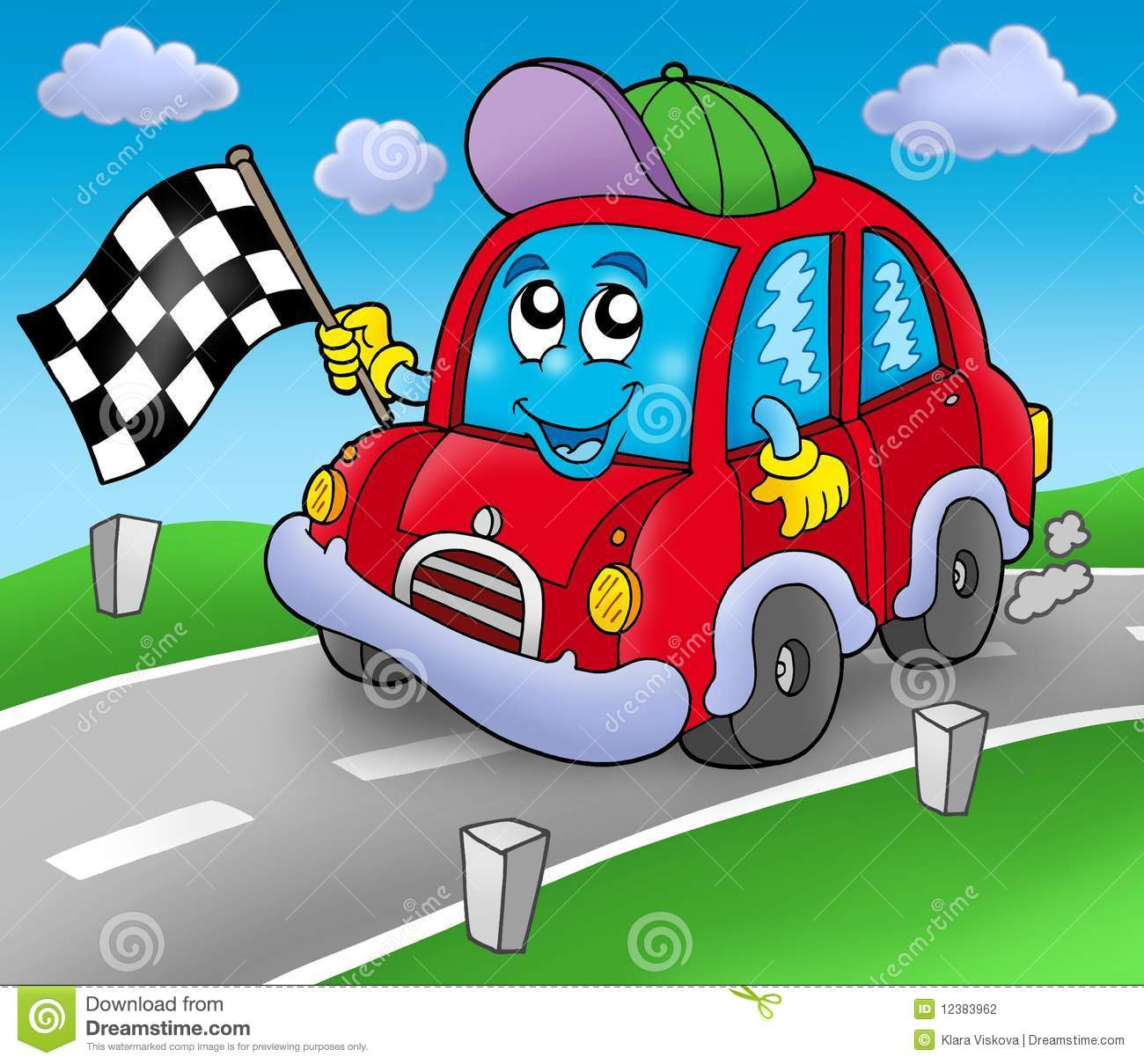 Car Race Starter On Road Stock Illustration Image Of Cars
