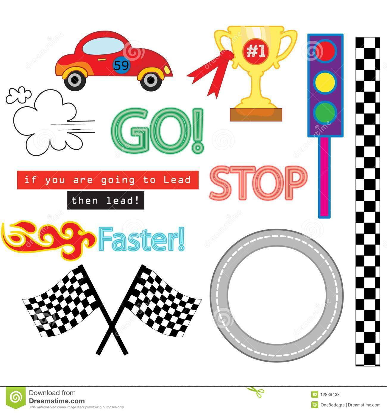 The Car Race Vector Pack Royalty Free Stock Photos - Image: 12839438