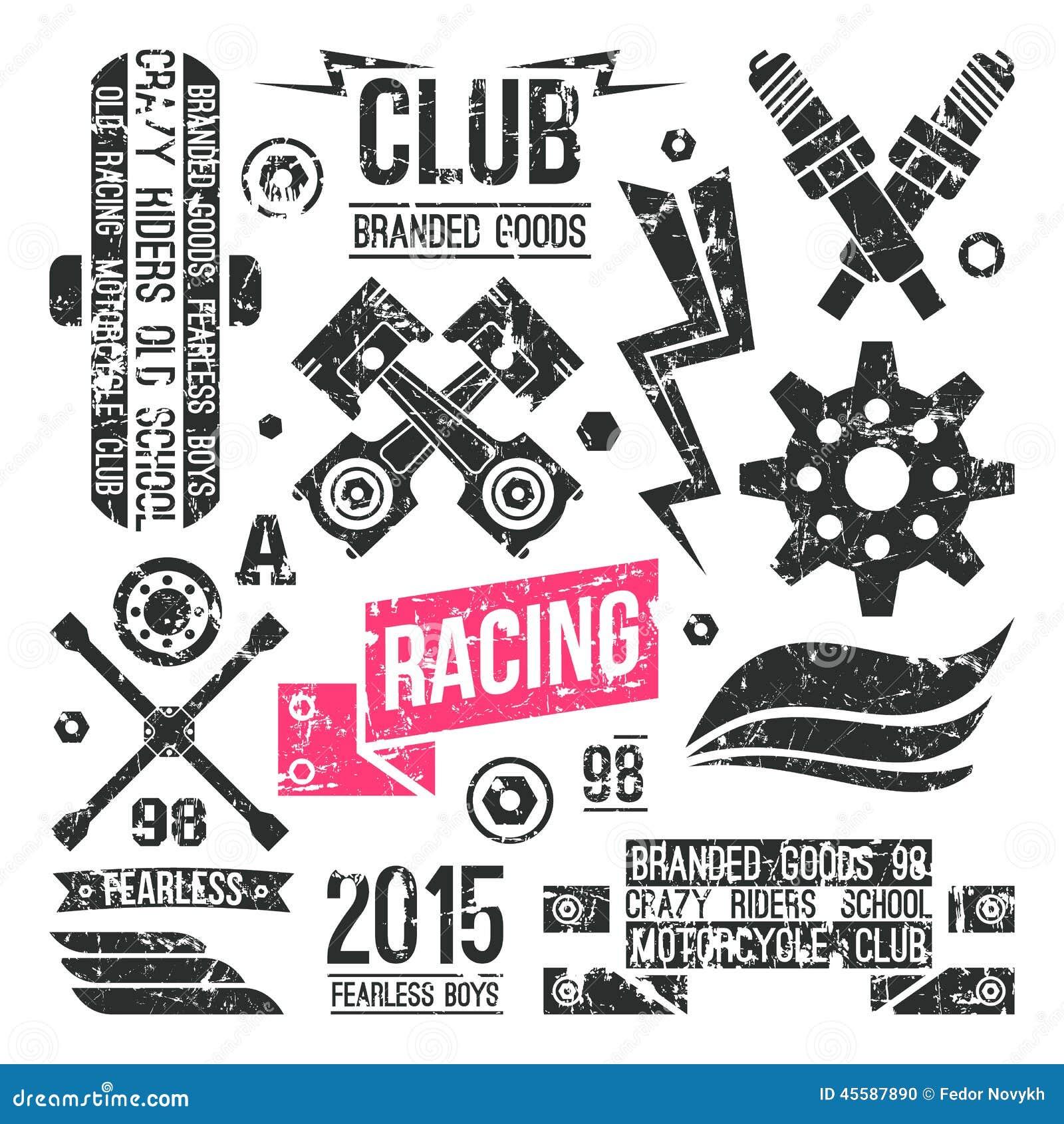 Desain t shirt racing - Car Racing Badges In Retro Style Stock Photo