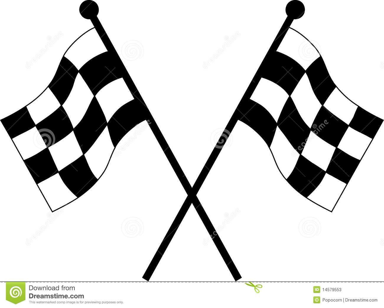 Car racing flags in checkered black and white color.