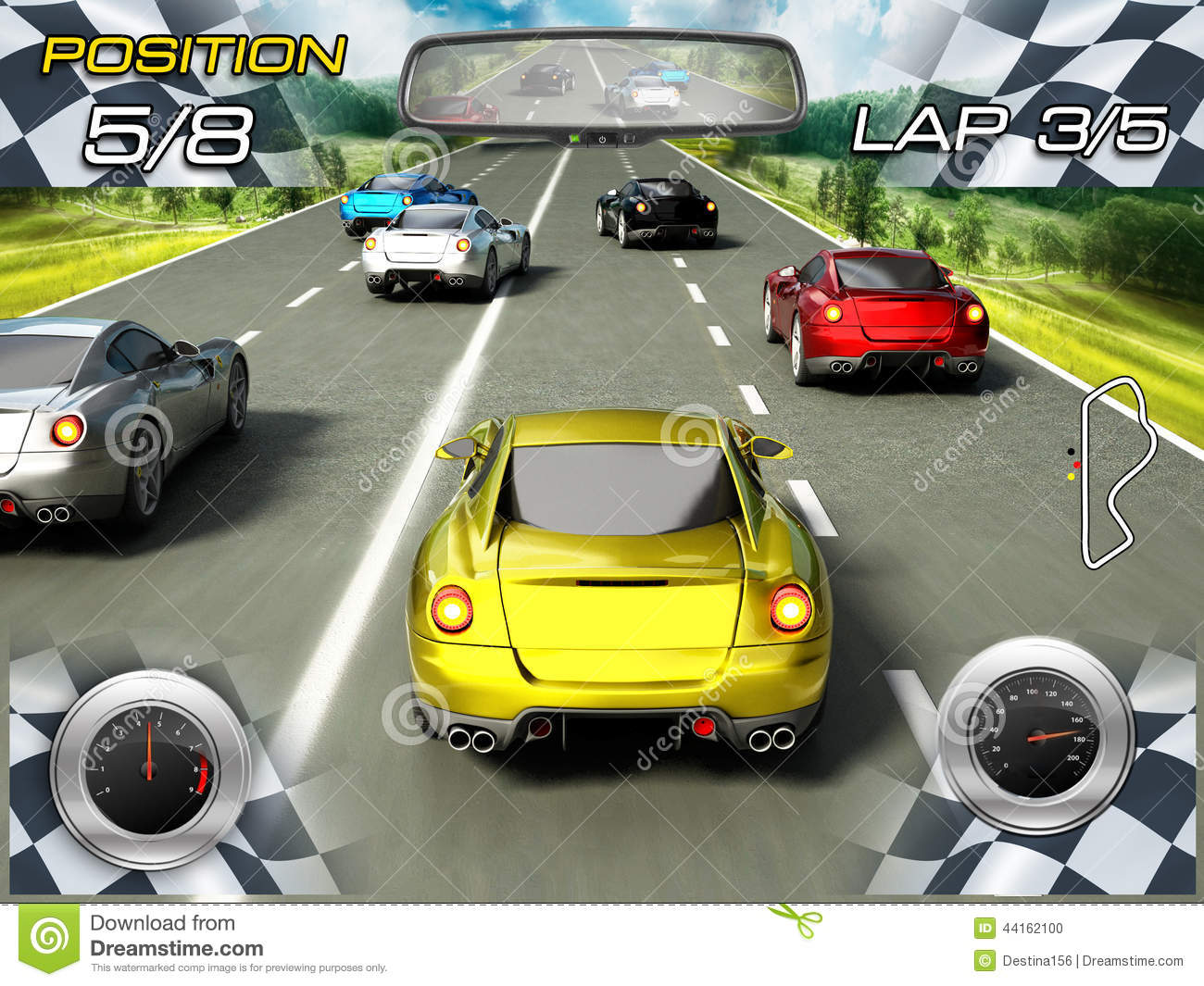 Car racing video game stock illustration. Illustration of front ...