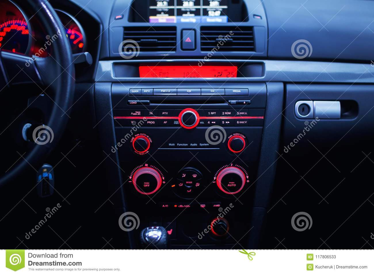 Car Radio And Air Conditioner System Button On Dashboard In Modern