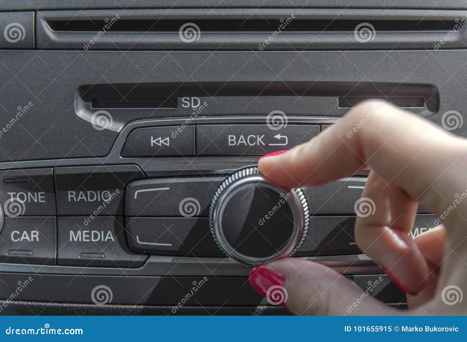 Car radio stereo panel and modern dashboard electric equipment