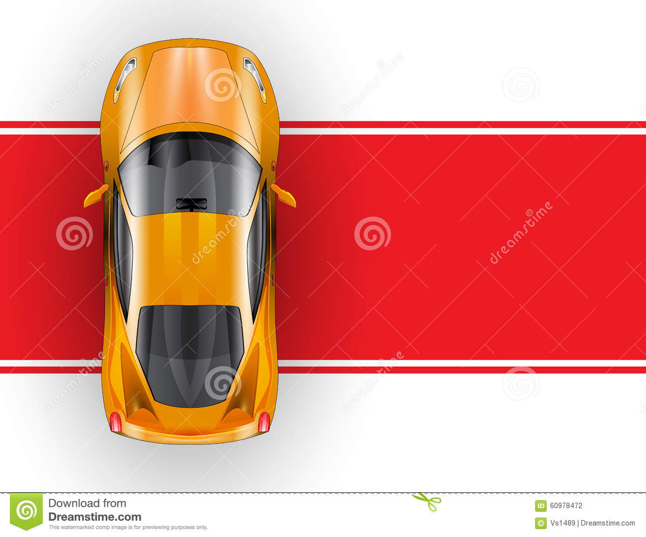 Car On The Red Carpet Vector Icon Top View Stock