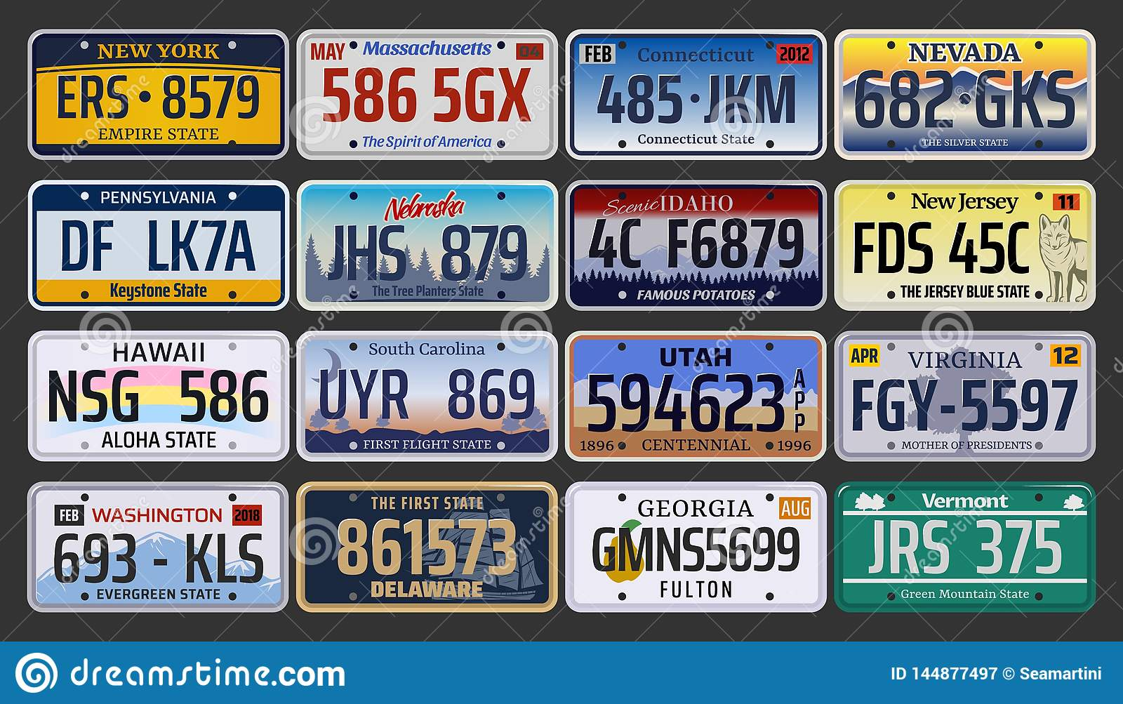 Car Registration Numbers And License Plates In USA Stock