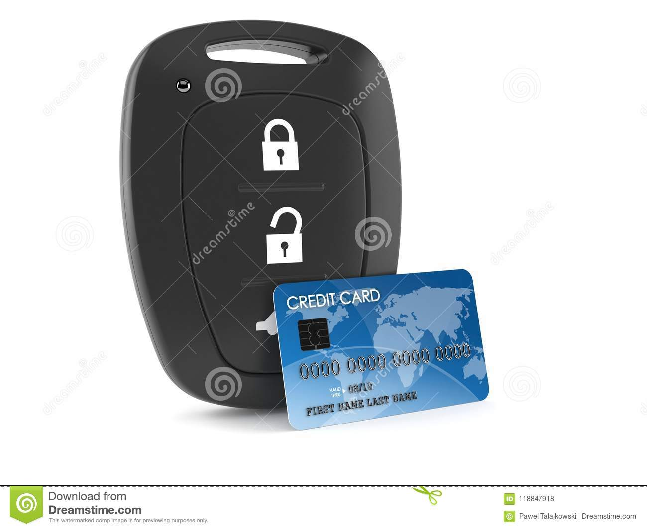 car remote key with credit card stock illustration