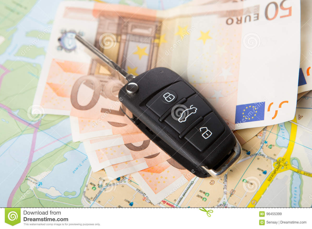 Car Rental Concept - Car Key And Money On The Map Stock Image ... on