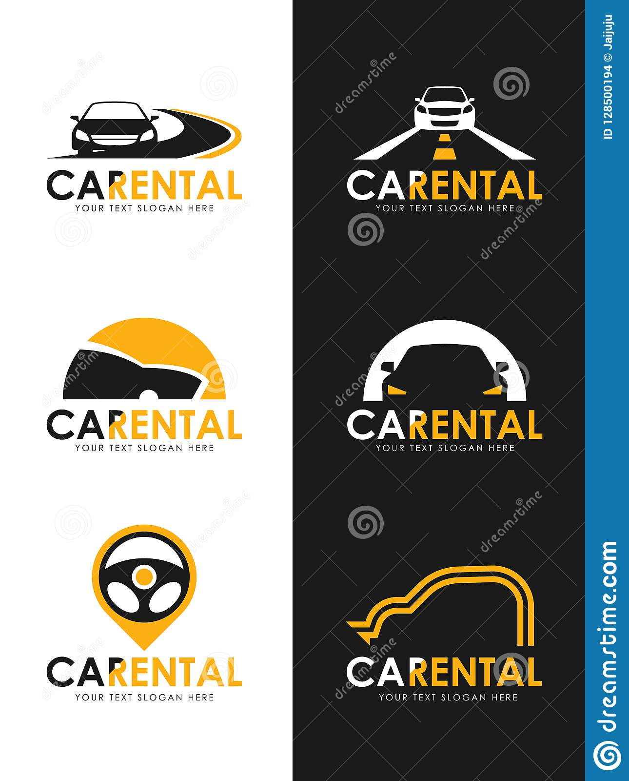 Car Rental Logo Sign Whit Black And Yellow Car Road And Steering Wheel Sign Vector Set Design Stock Vector Illustration Of Repair Doctor 128500194