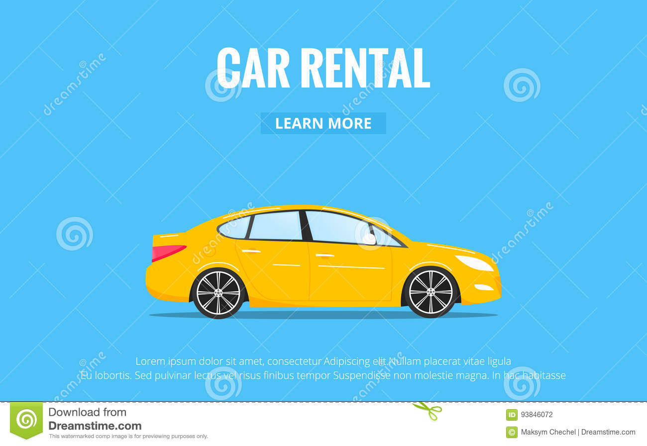 Car Rental Modern Automobile In Trendy Style With Typography For Advertisement Web Projects Etc Banner Of Car Rent Stock Vector Illustration Of Flat Outdoor 93846072