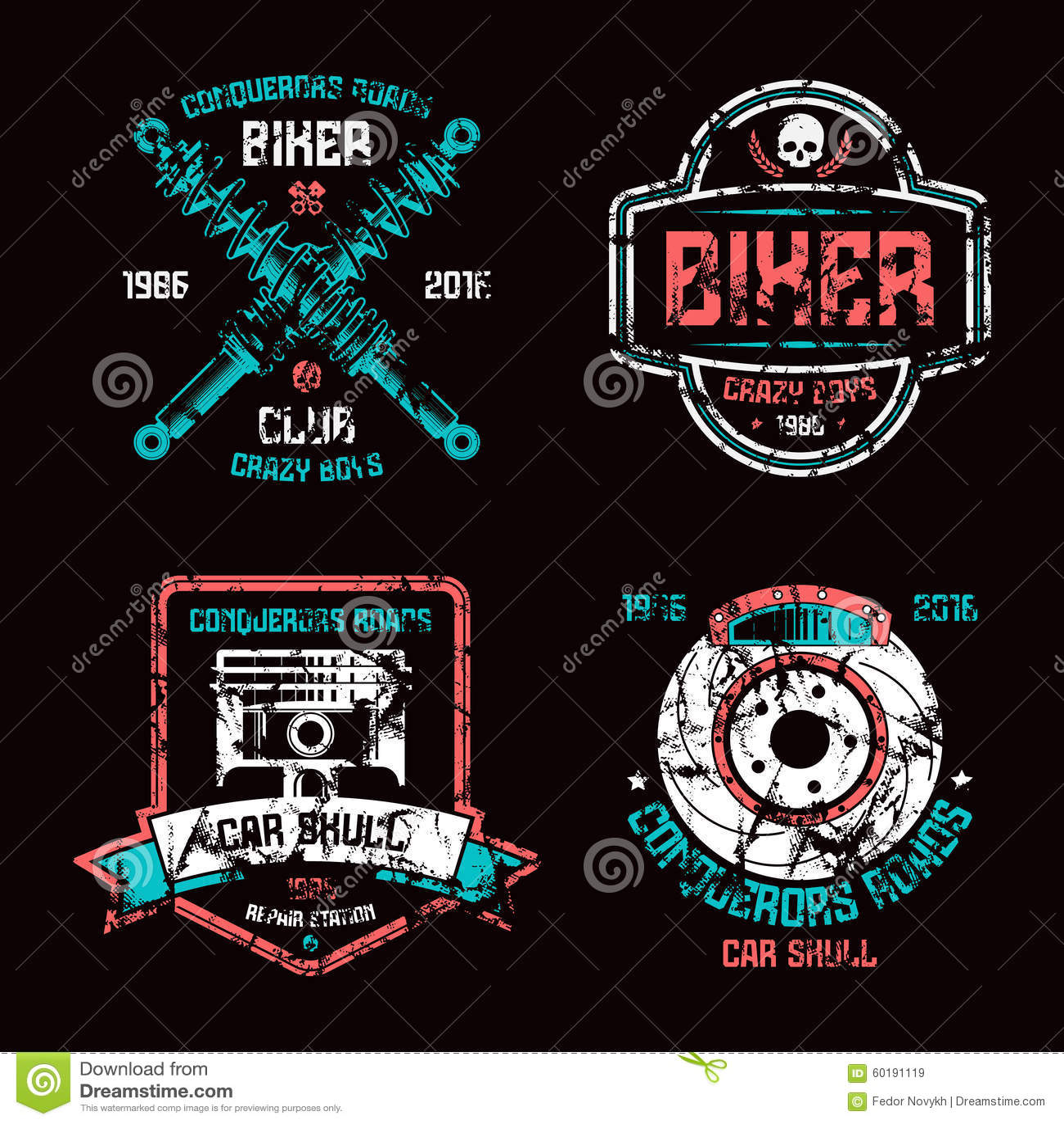 Design car club logo - Biker Black Car Club Color Design