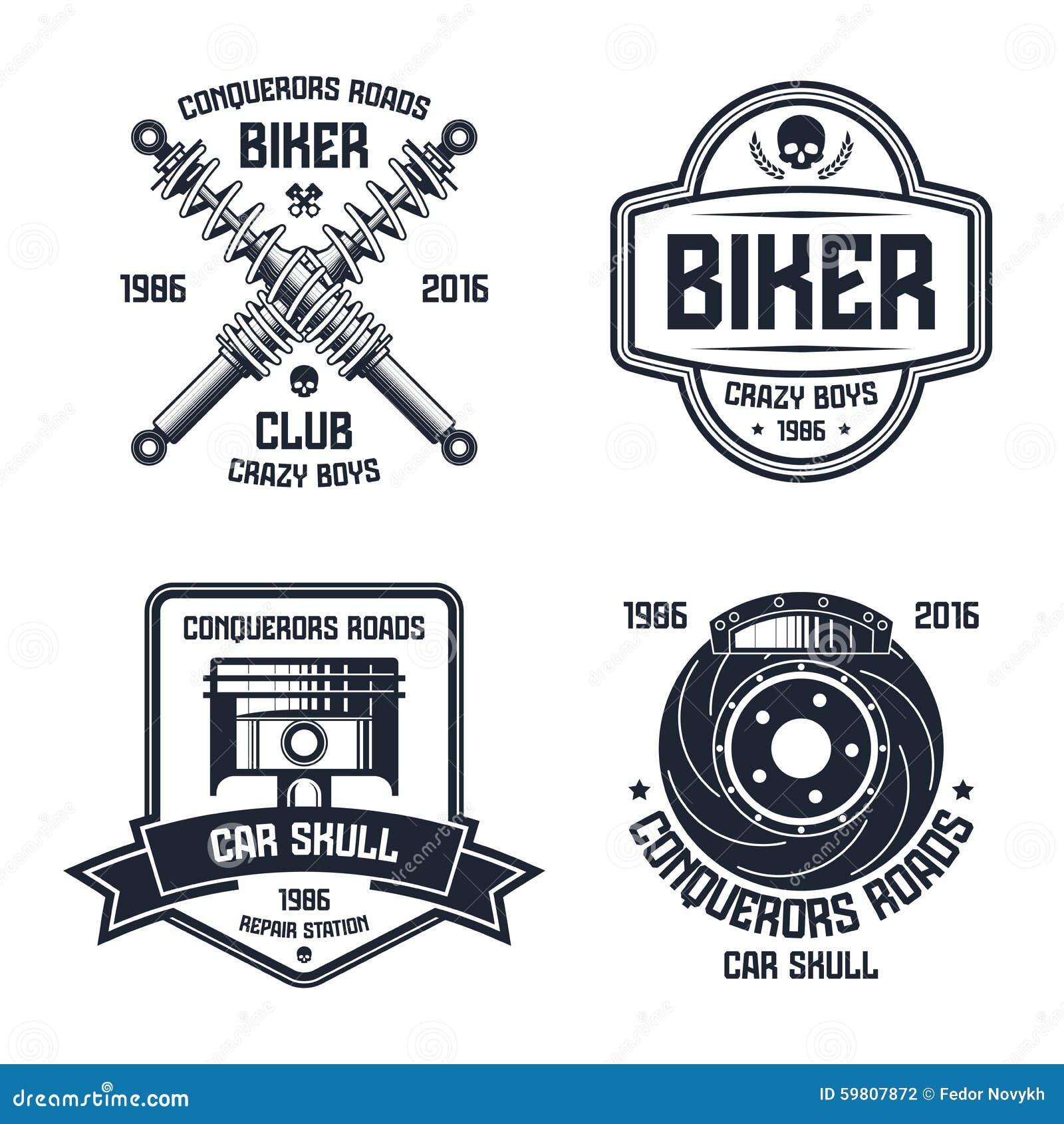Design car club logo - Car Repair And Biker Club Emblems