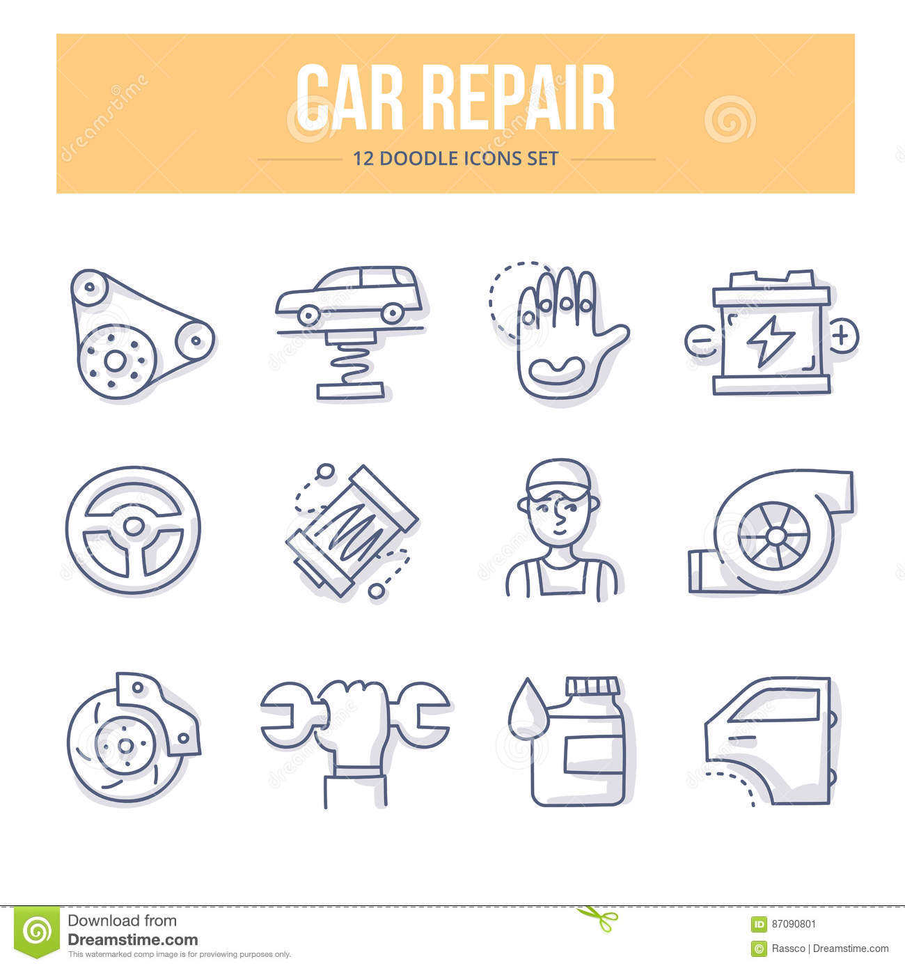 Car Repair Doodle Icons Stock Vector Illustration Of Garage 87090801