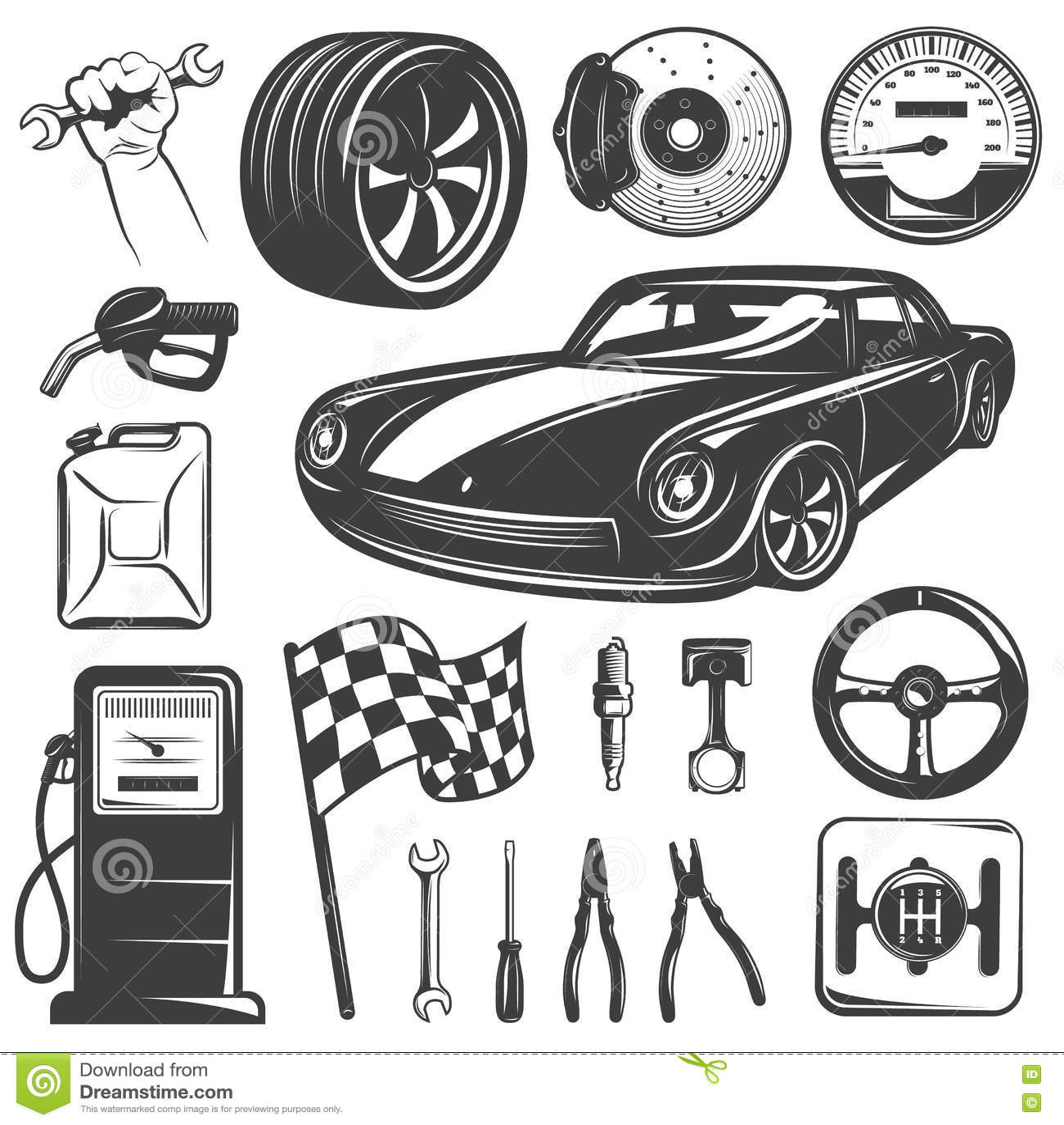 Car Repair Garage Icon Set stock vector. Illustration of engine ...