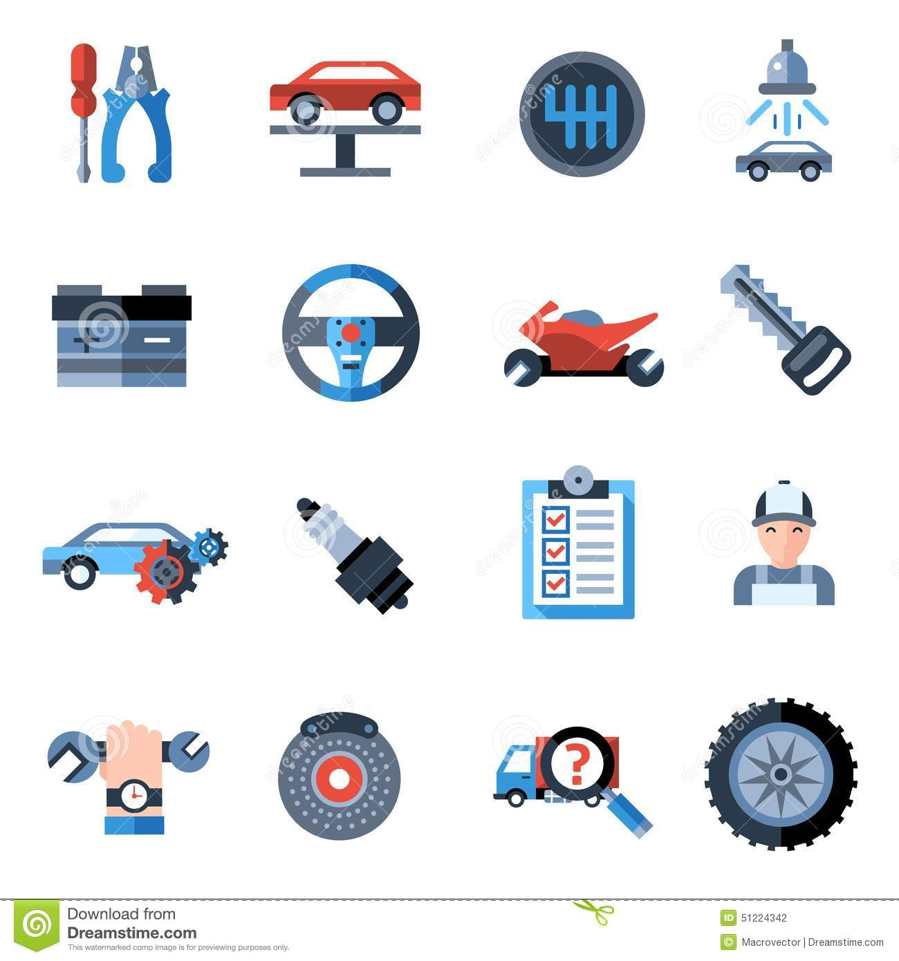 Icons for the garage and car repair royalty free stock for Garage fix auto nimes