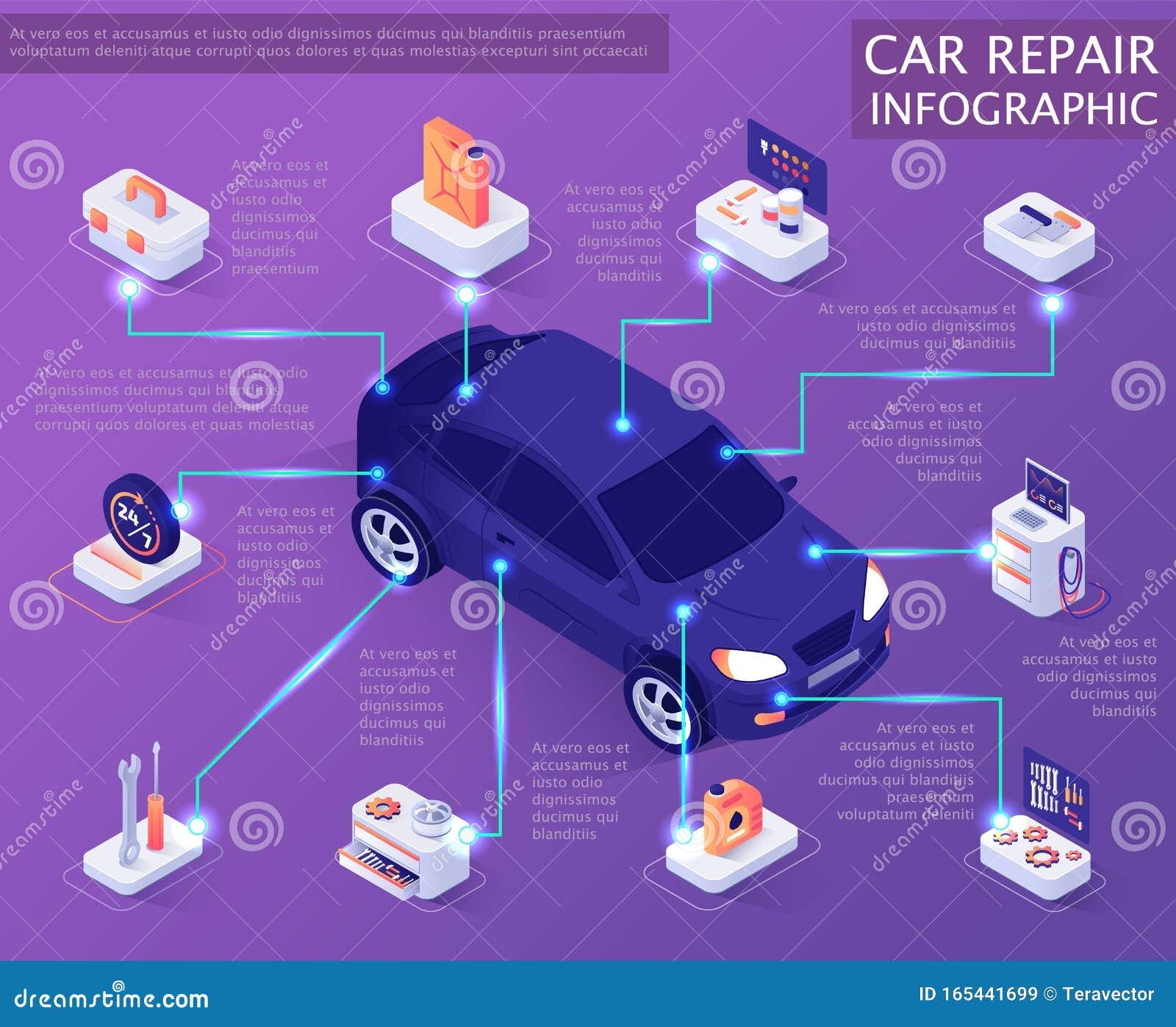 Car Repair Infographic In Isometric Banner Design Stock