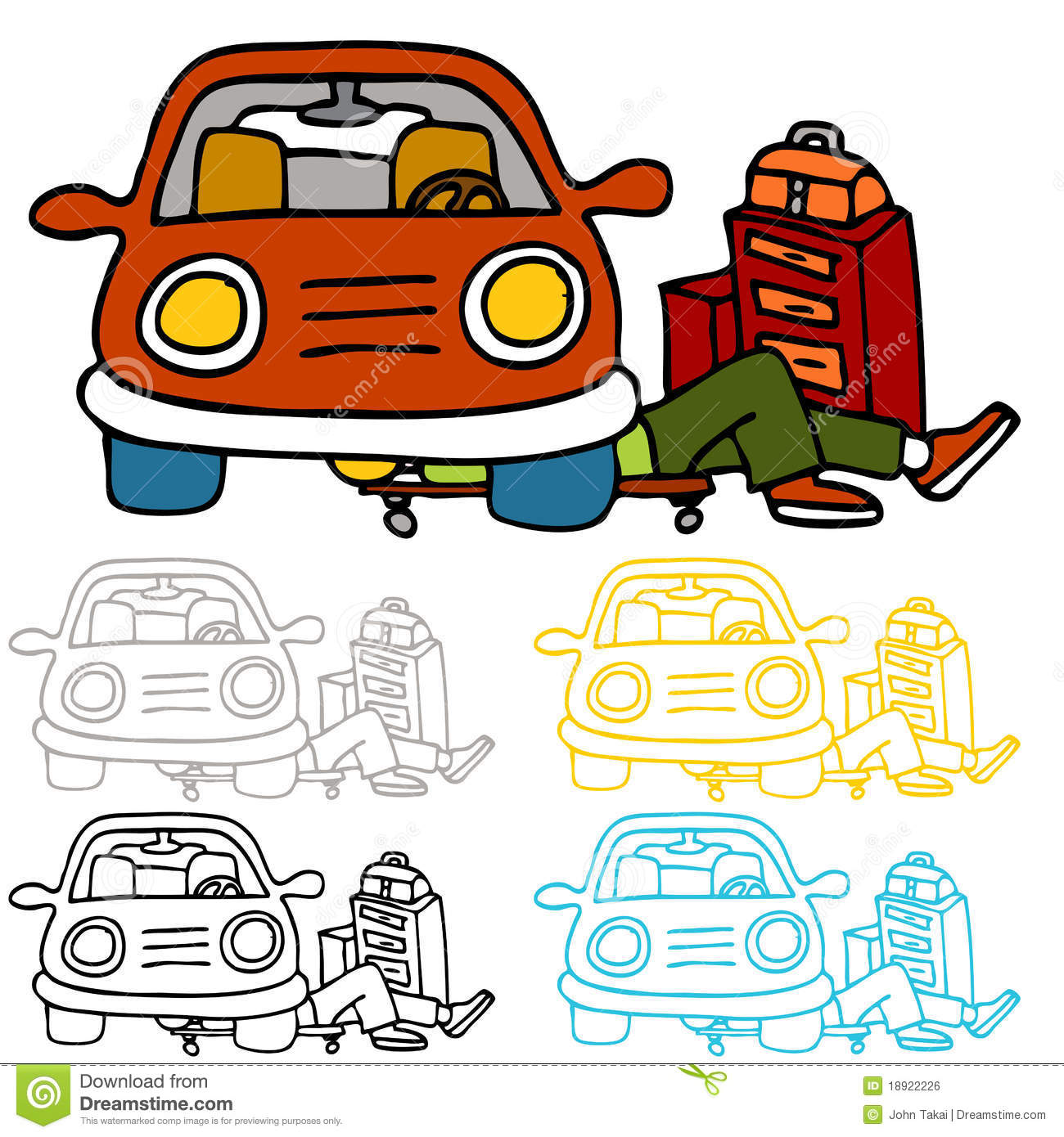 Car repair and maintenance stock vector image of working for Auto interieur reparatie