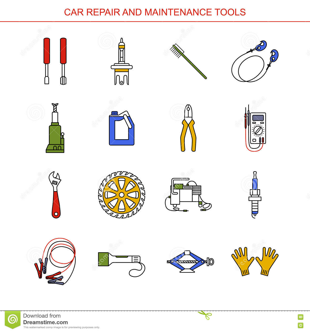 Car Repair And Maintenance Tools Stock Vector Illustration Of