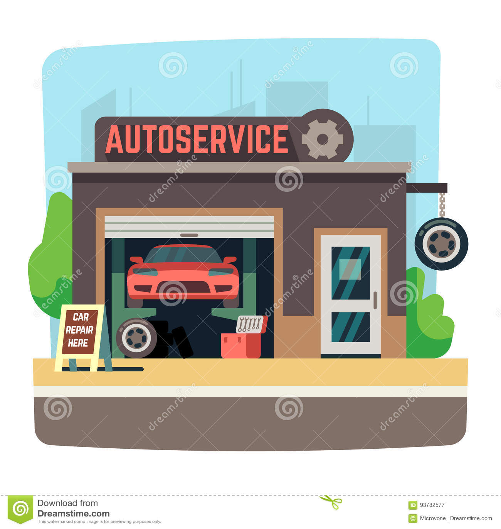 Car Repair Mechanic Shop With Automobile Inside Auto