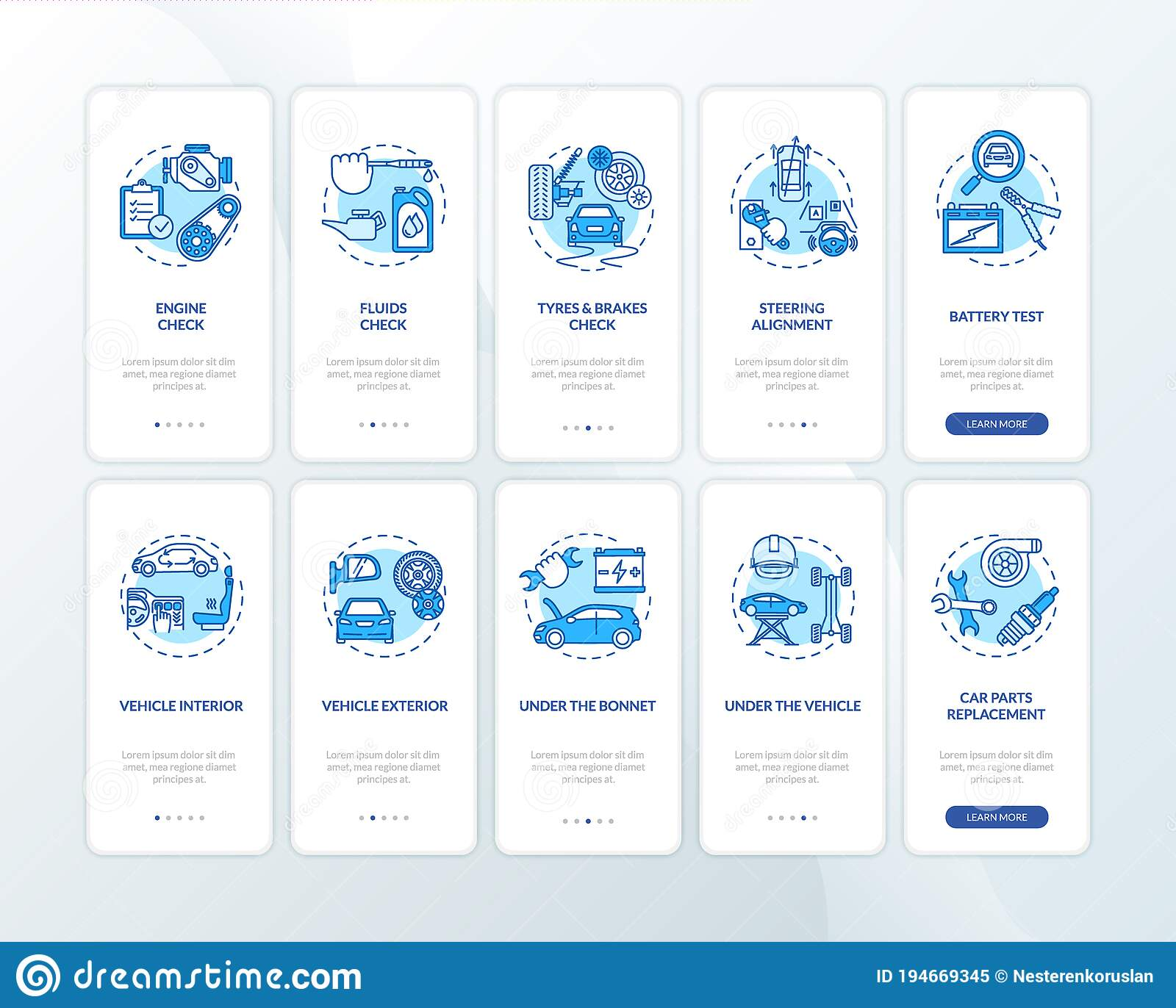 Car Repair Onboarding Mobile App Page Screen With Concepts Set Stock Vector Illustration Of Blue Service 194669345
