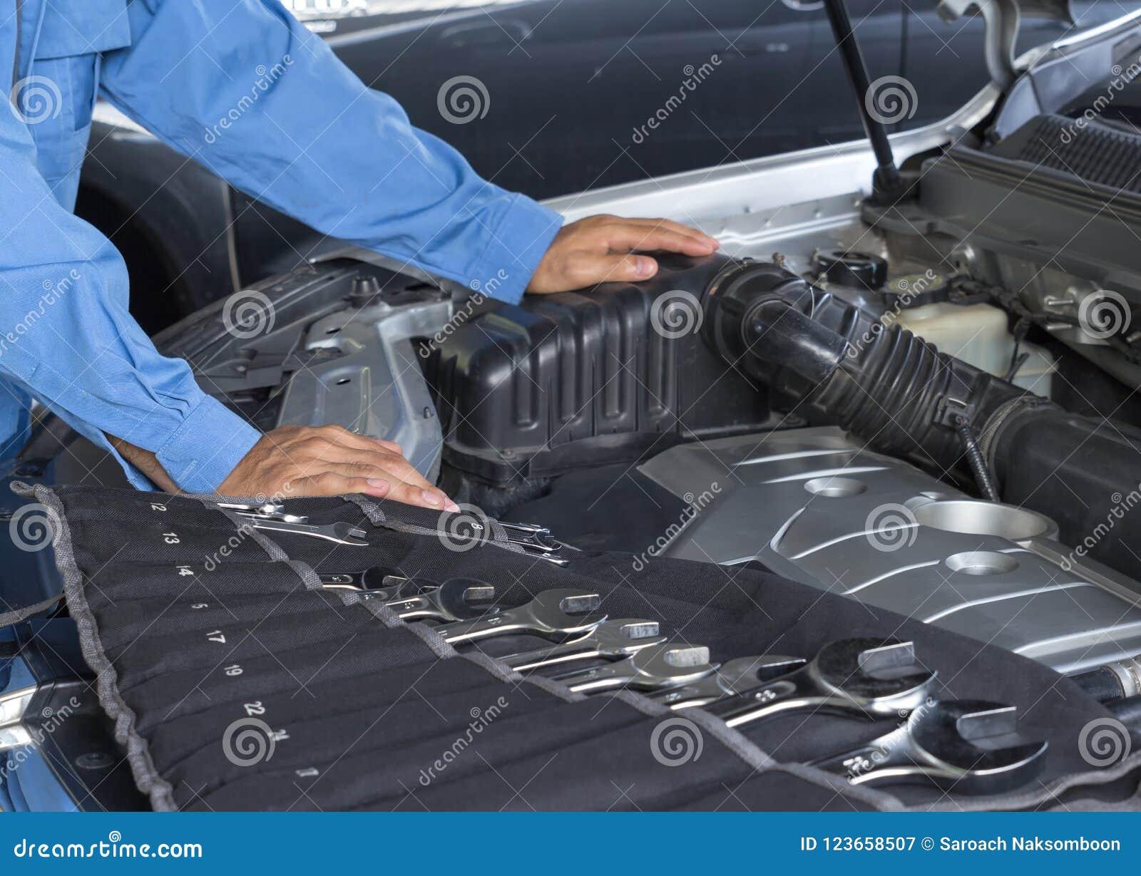 Car Repair Service, Auto Mechanic Repairing Car Engine Stock