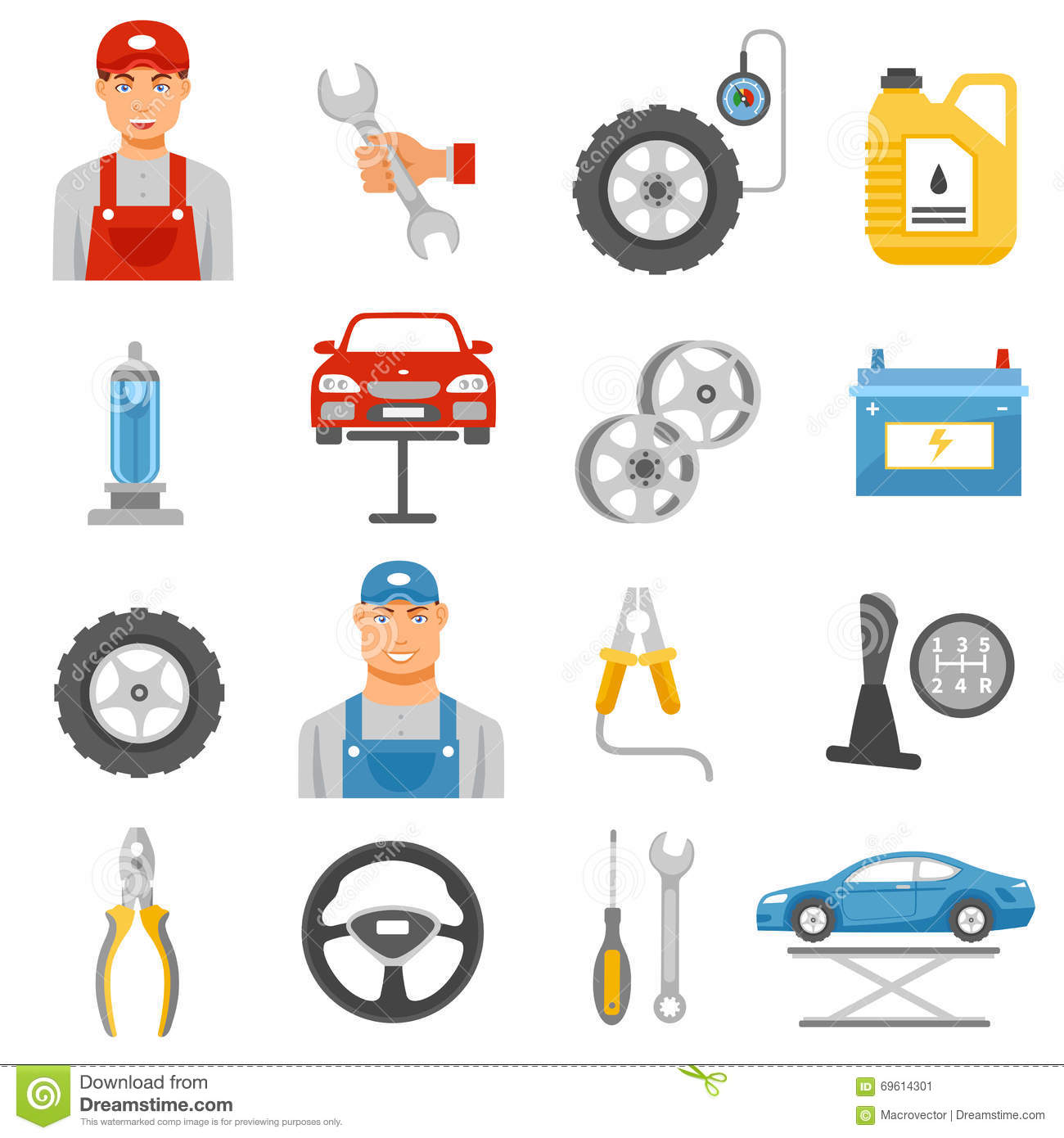 Tractor Parts Icon : Car shop icons set royalty free stock photo