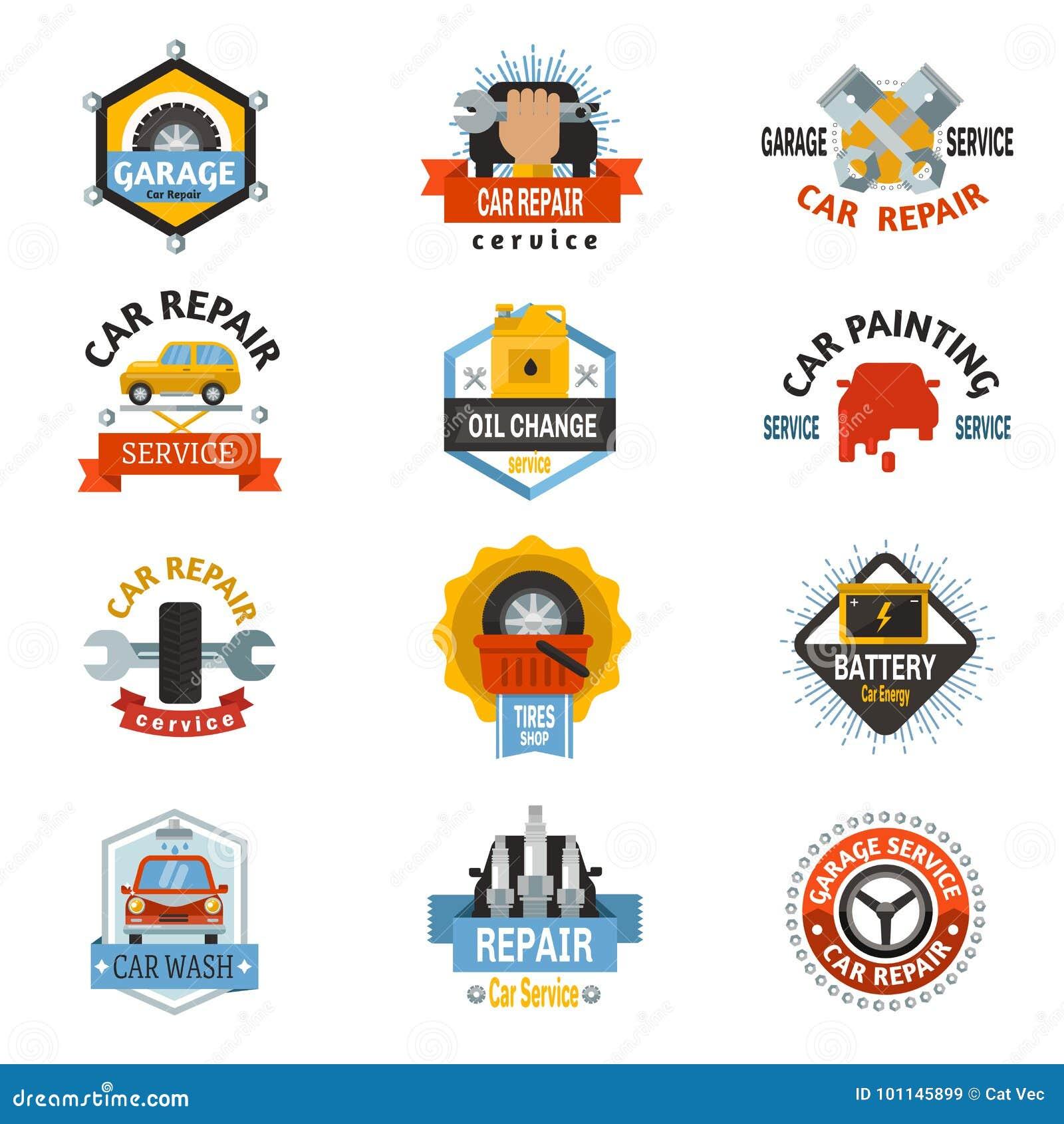 Car Repair Service Logo Auto Badge Emblems Mechanic Template Design